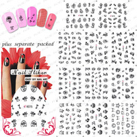 HOTSALE  Black color 3D Cartoon NAIL sticker design,Nail tips sticker For Fashion Finger Beauty Desgin