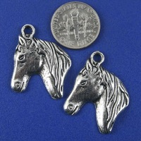 Free ship!!! 200pcs/lot 20.3X12.8MM  ancient silver horse head Charm Pendant Bead Fit Chain Finding Jewelry