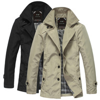 Long trench Coats & Jackets for men 2014 Autumn Fashion Turn-down collar Free shipping Brand fashion 2014 Style
