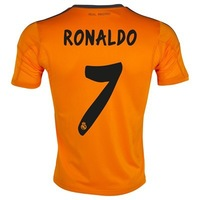 New 13/14 Real Madrid 3rd #7 Cristiano Ronaldo Jerseys Orange Shirt Soccer Unforms 2013-14 Cheap Soccer Jersey free shipping