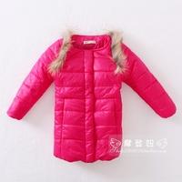 2012 winter medium-long child girls clothing outerwear cotton-padded jacket wadded jacket  furreal