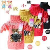 3pcs/lot winter autumn baby boys girls cartoon bear sweater kids cute bear turtleneck sweater children cardigan outerwear