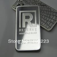 Accept laser number! DHL free shipping 20pcs/lot wholesale non-magnetic 10oz zinc plated silver Scottsdale metal bullion bar