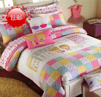 100% cotton child quilting by fashion bed cover bedspread bed sheets twinset