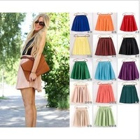 Free shipping. 19 color soft chiffon Short skirt bohemian pleated Women Short Skirts high quality Skirt
