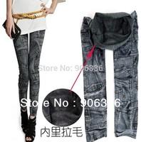 free shipping 2014 winter fashion women painted patchwork fleece leggings slim warm faux jeans pants for women factory price