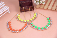 Min.order is $15 (mix order) Free Shipping&Fashion Fluorescent Candy Color Insert Rhinestone Short Necklace# A1050 A1051 A1052