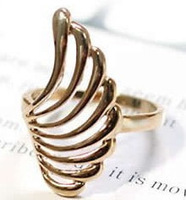 Min.order is $15 (mix order)Free Shipping 2013 Korean Lovely Wings Shape Hollow Leaves, Feathers Smooth Ring Couple B595B596