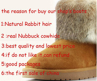 2013 Women's winter warm high long snow boots natural rabbit fur fur collar Nubuck Leather shoes for women high quality