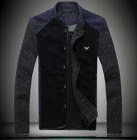 Autumn and winter jacket male outerwear men's clothing casual jacket male stand collar slim jacket patchwork male