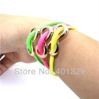 Free Shipping! Charm Colorful Multilayer Unlimited Bracelets Fashion Leather Jewelry 3pcs/lot