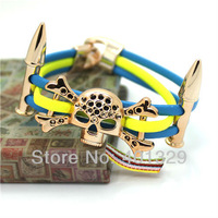 Free Shipping! Fashion European Jewelry Skeleton Bracelet Punk Style Leather Bracelet Wholesale 3pcs/lot