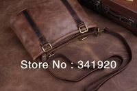 Classic handbags,Crazy Horse Genuine Leather bag Cowhide Portfolio Retro Handbag Vintage Shoulder Messenger Bag Free Shipping