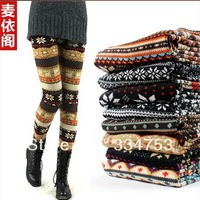 Korean women autumn & winter keep warm leggings, snowflakes & fawn prints slim pants