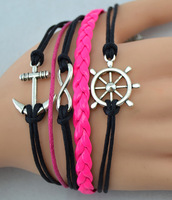 Hot sale 5pcs Infinity bracelet,Anchor & Rudder in Silver--Wax Cords and Imitation Leather Bracelet--Best Chosen Gift,S013