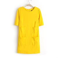 2013 autumn women dress fashion lady yellow dress pockets design casual half sleeve mini dress 0380