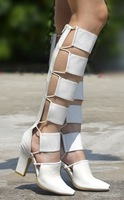 2013alexande pointed toe thick heel gladiator boots white belt cutout black-and-white cube of two-color back zipper