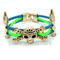 Free Shipping! Fashion Men Jewelry Punk Style Skeleton Bracelet Leather Bracelet