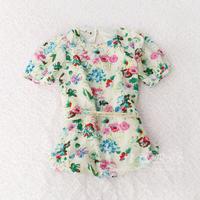 2014 child girls clothing flower o-neck shirt chiffon shirt  saia chiffon