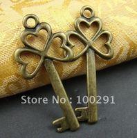 GF\\!!100piece/Lot 49x22mm Key Antique bronze Jewelry bead making alloy metal pendant charms