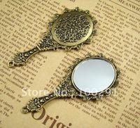 GF\\!!!50piece/Lot 70x32mm Mirror Antique bronze Jewelry bead making alloy metal pendant charms