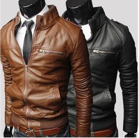 Fashion zipper design leather short slim coats&jackets male stand collar motorcycle leather&suede men'sclothing py08p75 1401