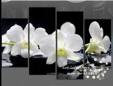 4 painel Wall Art Pictures botânico Feng Shui vermelho da orquídea branca pintura a óleo sobre tela a imagem para sala de estar decoração(China (Mainland))