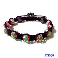2013 new fashion 9 balls 10mm crystal flag ball shamballa beaded christmas tree bracelets free shipping