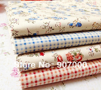 Blue Red floral checked cotton bedding quilt fabric for patchwork crafts home textile 40x50cm 4pcs