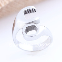 New 2013 316L Stainless Steel Motorcycle Tools Spanner Wrench Man Rings,Unique Jewelry,Free Shipping W416