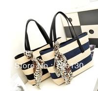 2013 summer new European and American fashion stitching handbag shoulder bag scarf navy wind stripe canvas laptop bag tide