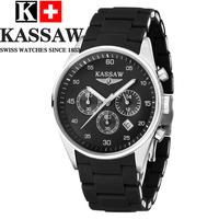 Kassaw Timecards Male Stainless Steel Waterproof Black Silica Gel Luminous Watchband Watch