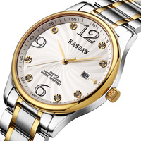 Kassaw Well Known Ultra-thin Rhinestone Quartz Watch Waterproof 200M Mens 18k Inner Gold Luxury Male Business Watch