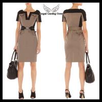 Free Shipping, Top Quality, Women's Fashion Colour block Tailored Military Shift Dess Vintage V-neck OL Safari Dresses KM-D056