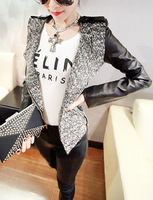 New arrival spring and  autumn fashion splice leather jacket coat women brand design Motorcycle jackets blazer suit
