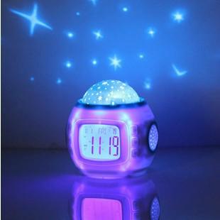 Music and starry sky calendar Children Room Sky Star Night Light Projector Lamp Bedroom Alarm Clock W/music free shipping(China (Mainland))
