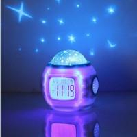 Music Projector Lamp starry sky calendar Children Room Sky Star Night Light  Bedroom Alarm Clock kids sleeping toys hot selling
