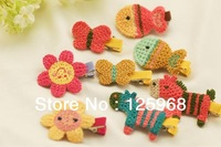 Free Shipping!2013 New Cute Girls Knitted Animal Hair Clip Kids Hair Accessories Hairclip Wholesale 30pcs/lot Children Hairgrips