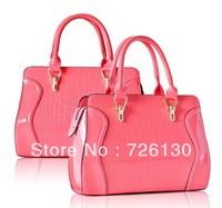 New European and American crocodile pattern patent leather handbag diagonal package female bag pu Business