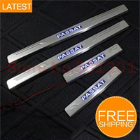 Free shipping LED Stainless Steel Door Sill Scuff Plate For Volkswagen VW Passat B6 2006-2011