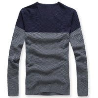 Men's clothing sweater color block decoration V-neck sweater male sweater male top quality free shipping