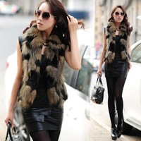 New Arrival Feral Slim Faux Fur & Leather Patchwork Vest Sexy Fox Fur Jacket Small Square Collar Faux Fox Furs Waist Jacket