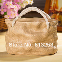Modern Fashion Ceramic Flower Vase. Household Decorative Flower Pot. Brown Hand Bag Shape. Wholesale  ID:A0109118