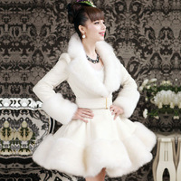 10205 2013 winter white artificial rex rabbit hair fox fur overcoat skirt outerwear  Free Shipping