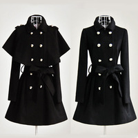 10190 2013 winter women's two ways cloak wool overcoat  Free Shipping