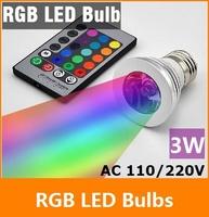 Free Shipping 16 Colors changing RGB LED Lamp 3W E27 90-240V white light bulb RGB LED Bulb Lamp Spot with Remote Control