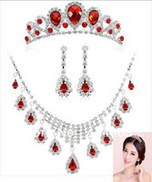 2013 -Free Shipping Wegirl Hot Sale Rhinestone Wedding Jewelry Sets with tiara necklace earring Bridal Jewellry For Bride 3T009