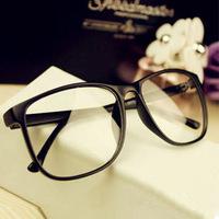 Non-mainstream vintage leopard print large black plain mirror box big box eyeglasses frame plain glass spectacles frame