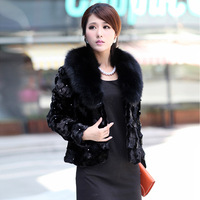 2012 big crystal fox fur fight mink fur top outerwear