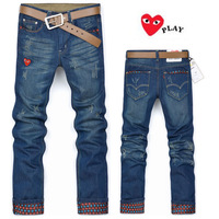 2013 New Korean style of the new cooperation models love PLYA series cotton straight men's jeans # 6716